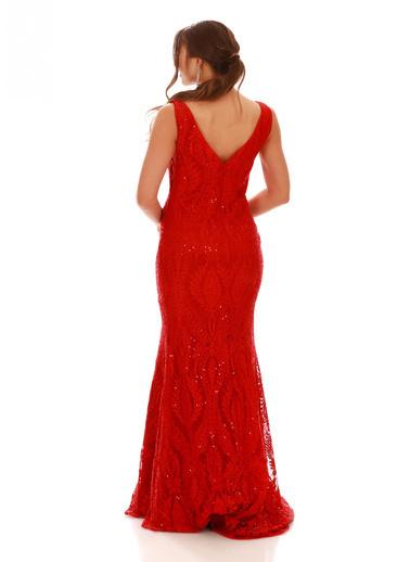 Pierre Cardin Pierre Cardin Kırmızı Dantel Kare Yaka Uzun Abiye Elbise Kırmızı